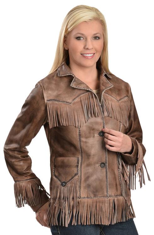 Scully Lamb Leather Fringe Jacket, Brown, hi-res