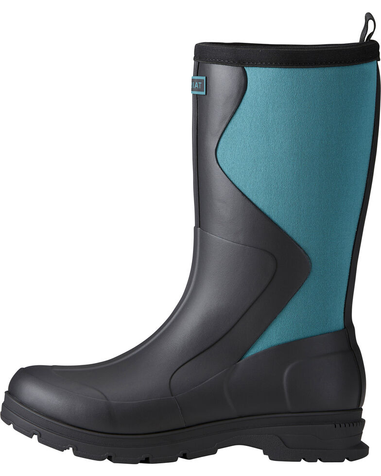 Ariat Women's Black Springfield Rubber Boots - Round Toe , Black, hi-res