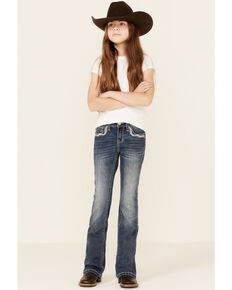 Grace In LA Girls' Dark Wash Embroidered Cross Pocket Bootcut Jeans , Blue, hi-res