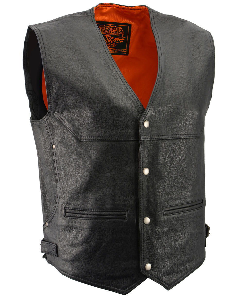 Milwaukee Leather Men's Black Deep Pocket Vest - Big 5X , Black, hi-res