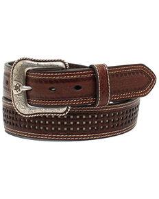 Ariat Men's Pierced Basketweave Western Belt, Brown, hi-res