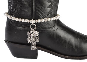 Blazin Roxx Faux Pearl Beaded Cross Charm Boot Bracelet, White, hi-res