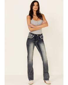 Grace in LA Women's Abstract Embroidery Bootcut Jeans, Blue, hi-res