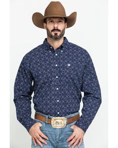 Cinch Men's Navy Diamond Dot Geo Print Long Sleeve Western Shirt , Navy, hi-res