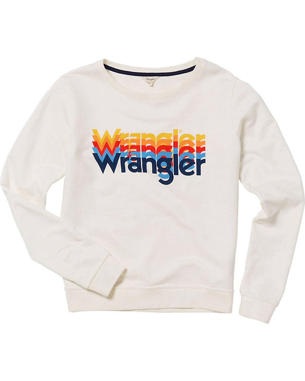 Wrangler Women's 70th Anniversary Rainbow Logo Sweatshirt, White, hi-res