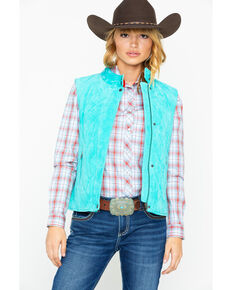 Cripple Creek Women's Turquoise Quilted Zip Snap Front Vest, Turquoise, hi-res