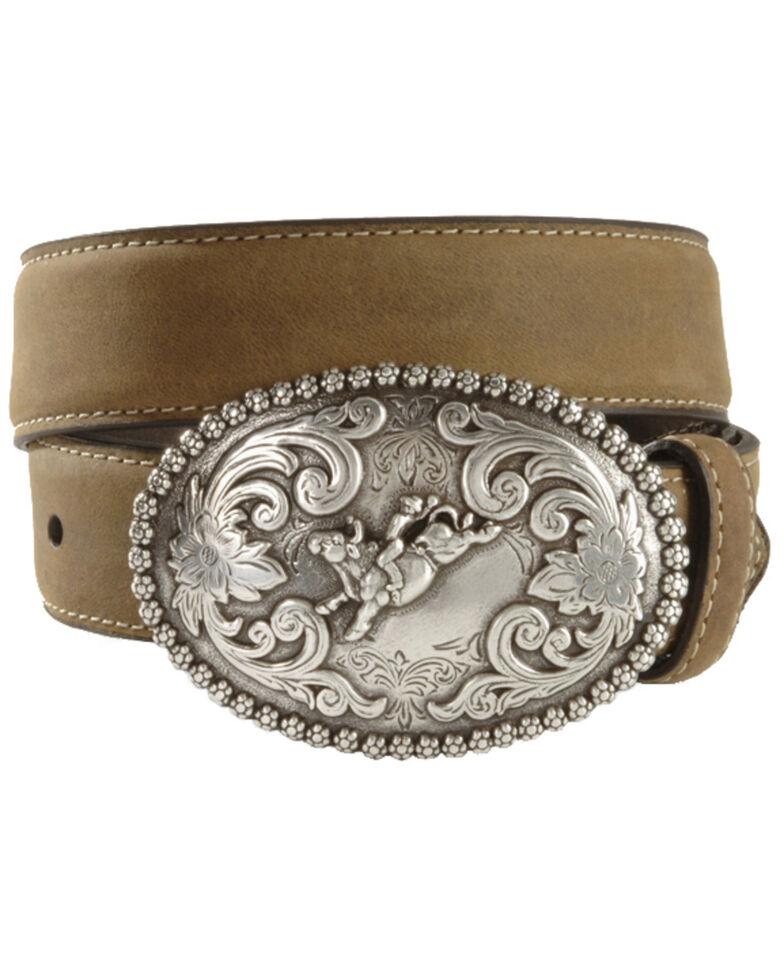 Nocona Children's Bull Rider Buckle Distressed Leather Belt - 18-26, Brown, hi-res