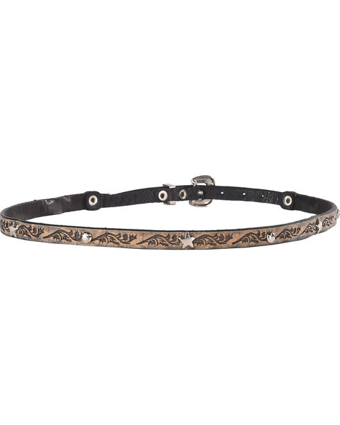 Phunky Horse Star Concho Leather Hat Band , Lt Brown, hi-res