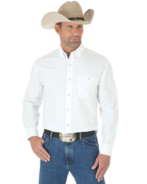 George Strait by Wrangler Men's White Long Sleeve Shirt, White, hi-res