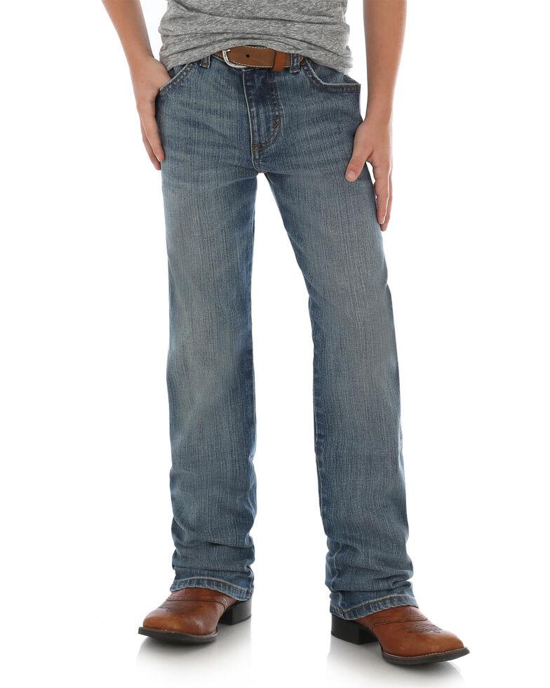 fa02ed279 Zoomed Image Wrangler Retro Boys' Callahan Stretch Slim Straight Jeans ,  Blue, hi-res