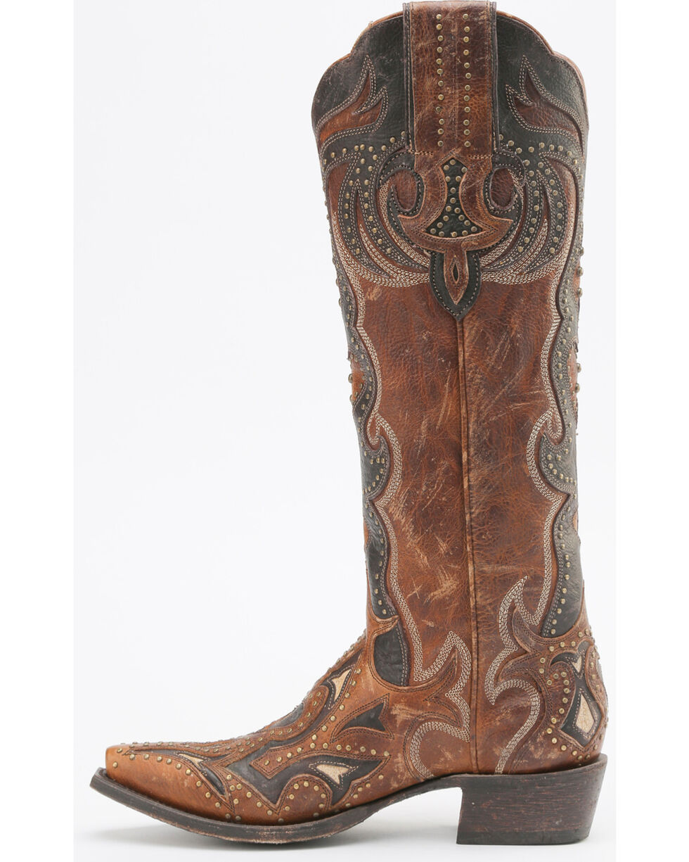Miss Macie Women's Martina Cowgirl Boots - Snip Toe , Brown, hi-res