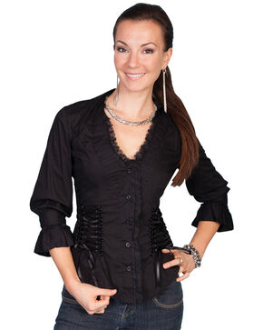 Scully Lace Up Back 3/4 Length Top, Black, hi-res