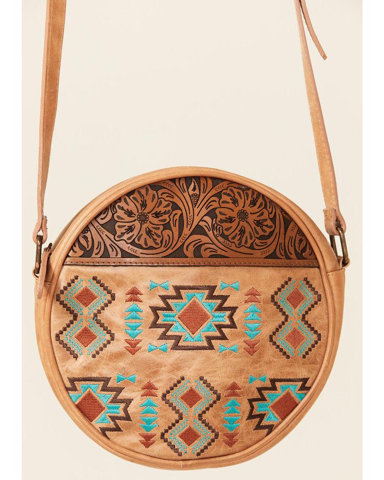 Shyanne Women's Madison Aztec Circle Crossbody Bag, Tan, hi-res