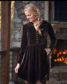 Ryan Michael Women's Black Velvet Tunic Dress , Black, hi-res