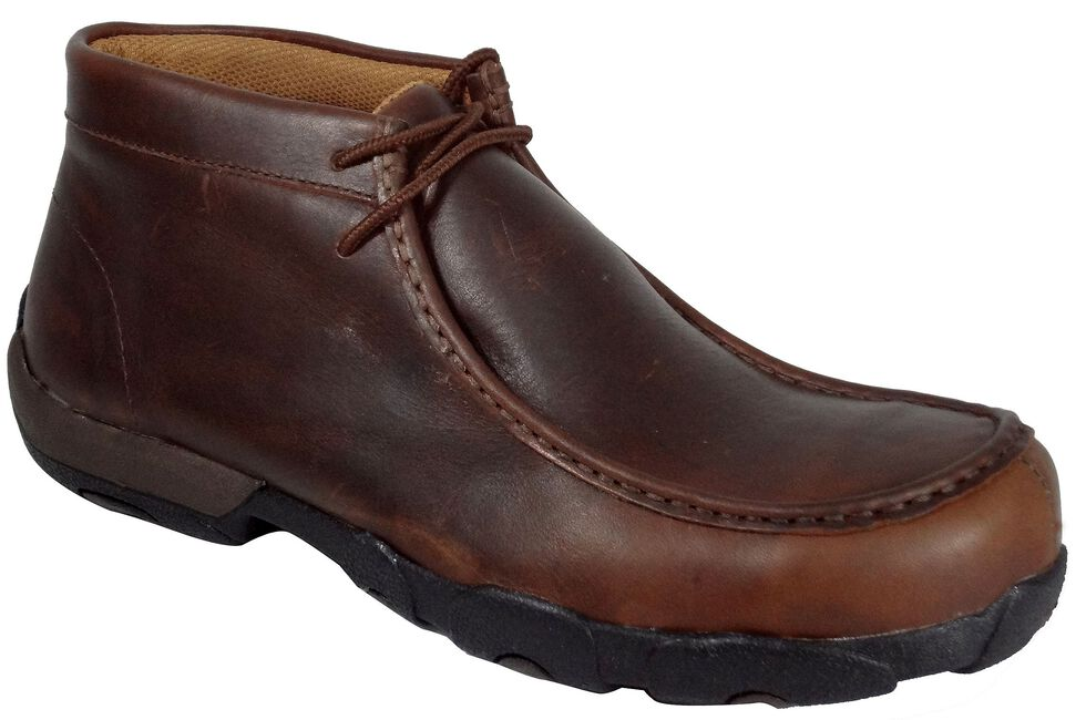 Twisted X Driving Lace-Up Moccasin Shoes - Composite Toe, Oiled Rust, hi-res