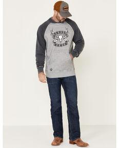 Cowboy Hardware Men's Grey Skull Ranch Graphic Baseball Hooded Sweatshirt , Grey, hi-res