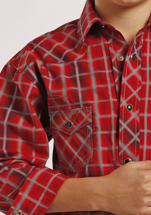 Rock and Roll Cowboy Boys' Red Plaid Snap Western Shirt , Plaid, hi-res