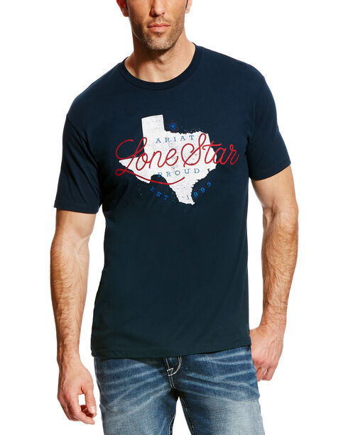 Ariat Men's Navy Lone Star State Short Sleeve T-Shirt , Navy, hi-res
