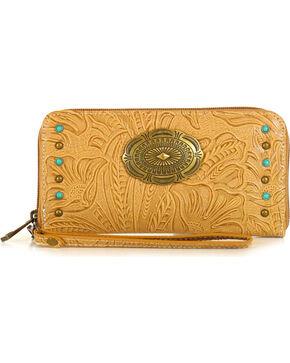 Way West Women's Allegra Tooled Studded Wallet, Tan, hi-res
