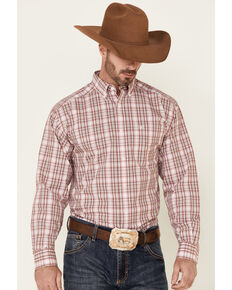 Ariat Men's Wrinkle Free Olindo Small Plaid Long Sleeve Button-Down Western Shirt , Brown, hi-res