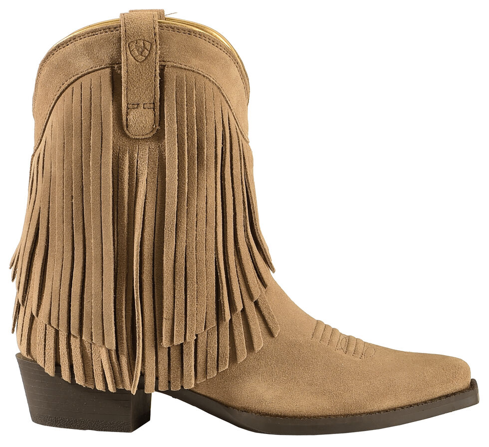 Ariat Youth Girls' Gold Rush Rustic Brown Fringe Cowgirl Boots - Snip Toe, Bark, hi-res