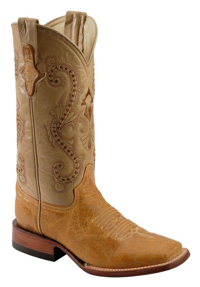 Ferrini Distressed Kangaroo Cowgirl Boots - Wide Square Toe, Antique Saddle, hi-res