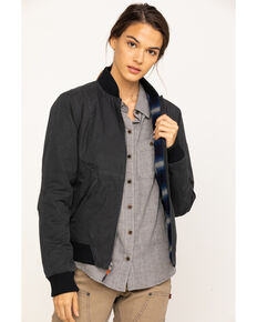 Dovetail Workwear Women's Evaleen Waxed Canvas Trucker Jacket , Dark Grey, hi-res
