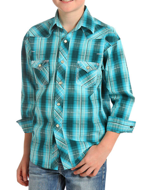 Rock & Roll Cowboy Boys' Turquoise Plaid Long Sleeve Snap Shirt, Turquoise, hi-res