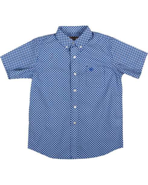 Ariat Boys' Blue Indiana Print Short Sleeve Shirt , Blue, hi-res