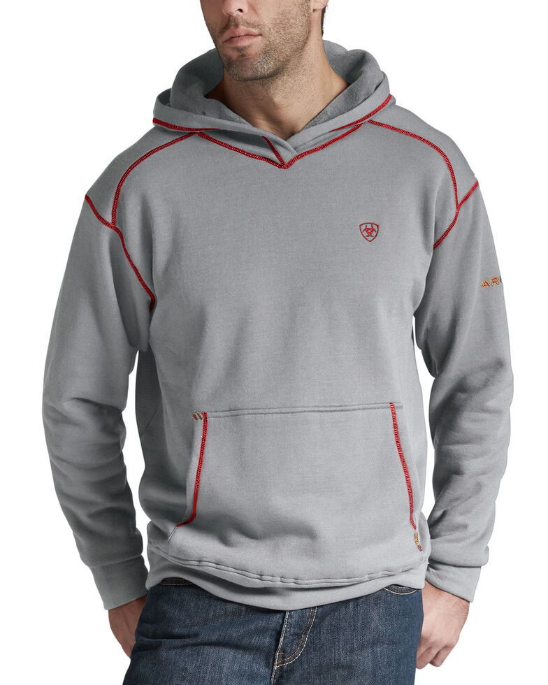 Ariat Men's Flame Resistant Polartec Grey Work Hooded Sweatshirt - Big and Tall, Hthr Grey, hi-res