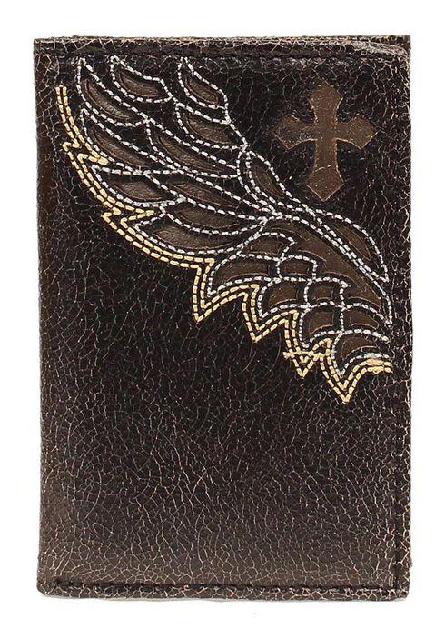 Nocona Cross & Wing Inlay Tri-fold Wallet, Black, hi-res
