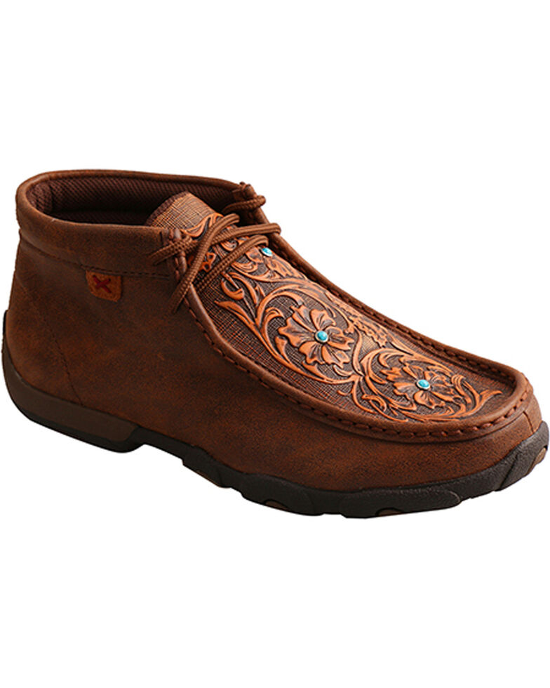 Twisted X Women's Brown Tooled Flowers Driving Moccasins - Moc Toe , Brown, hi-res