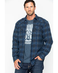 Moonshine Spirit Men's Crazy Horse Plaid Long Sleeve Western Flannel Shirt, Navy, hi-res