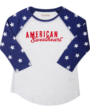 Shyanne Girls' American Sweetheart Baseball Tee , White, hi-res