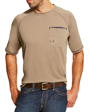 Ariat Men's Khaki Rebar Sunstopper Short Sleeve Pocket Tee, Beige/khaki, hi-res