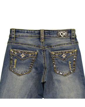Cowgirl Hardware Girls' Bling Faux Flap Star Denim, Blue, hi-res