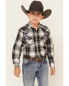 Ely Walker Boys' Blue Dobby Plaid Long Sleeve Western Shirt , Black, hi-res