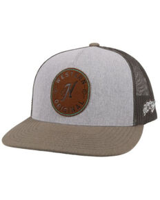 HOOey Men's Spur Leather Logo Patch Mesh Back Trucker Cap , Grey, hi-res