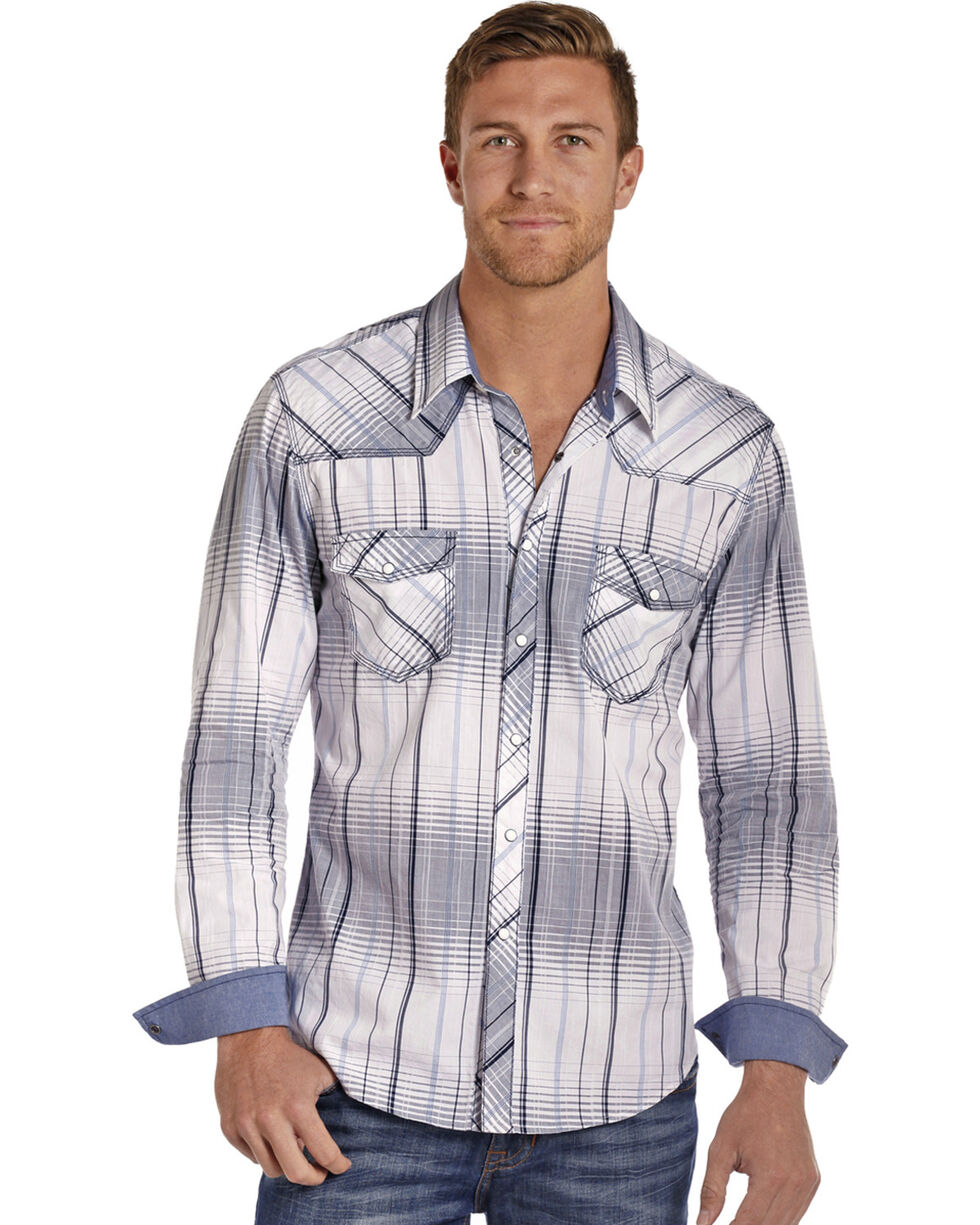 Rock & Roll Cowboy Men's White Crinkle Washed Plaid Long Sleeve Shirt, White, hi-res