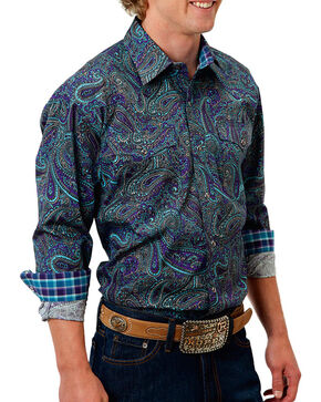 Roper Men's Purple Paisley Print Long Sleeve Snap Shirt, Purple, hi-res