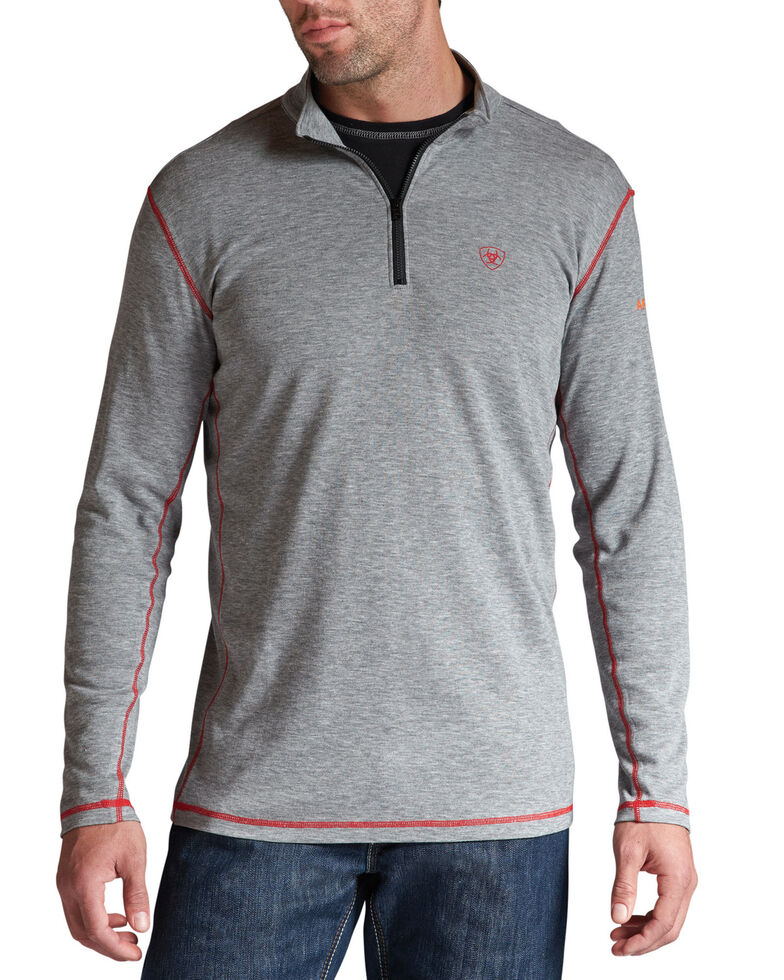 Ariat Flame Resistant Polartec 1/4 Zip Baselayer Pullover - Big and Tall, Hthr Grey, hi-res