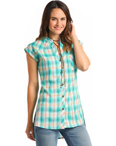 Panhandle Womens Plaid Short Sleeve Button Tunic, Teal, hi-res