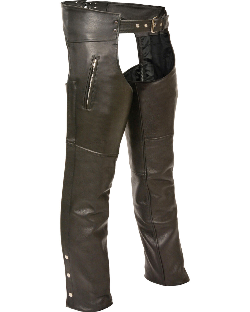Milwaukee Leather Men's Zipper Thigh Pocket Classic Chaps - 4X, Black, hi-res