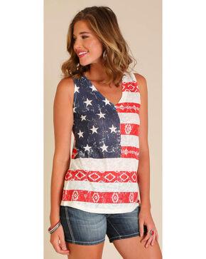 Wrangler Women's Sleeveless All Over Americana Top, Ivory, hi-res