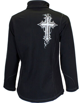 Cowgirl Hardware Women's Cross Embroidered Bonded Jacket, Black, hi-res