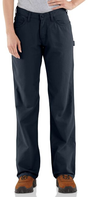 "Carhartt Flame Resistant Canvas Work Pants - 34"" Inseam, Navy, hi-res"