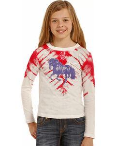 Rock & Roll Cowgirl Girls' Tie-Dye Print Horse T-Shirt , Light/pastel Pink, hi-res