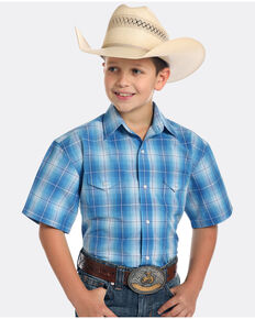Panhandle Boys' Rough Stock Lindsey Antique Plaid Short Sleeve Western Shirt , Blue, hi-res