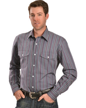 Gibson Trading Co. Dobby Striped Charcoal Shirt, Charcoal Grey, hi-res