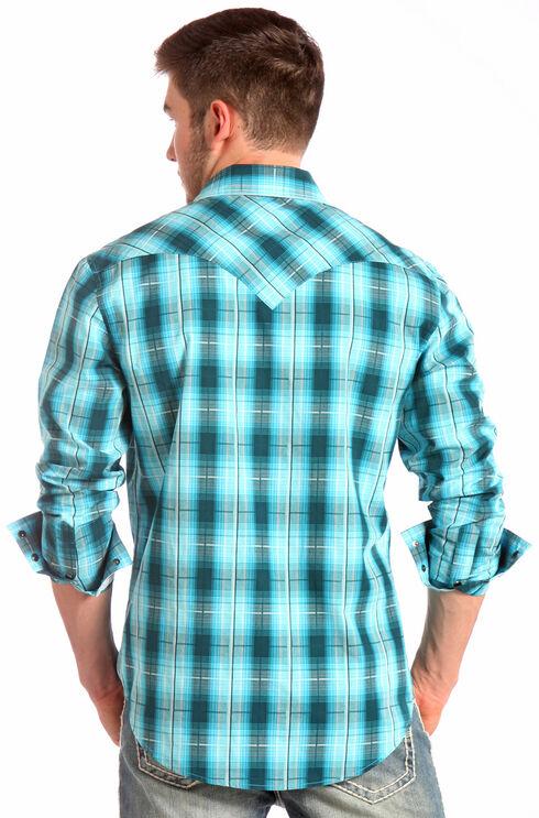 Rock and Roll Cowboy Blue Plaid Ombre Western Shirt , Blue, hi-res
